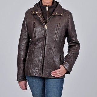 Tibor Design Womens New Zealand Lamb Leather Jacket with Removable