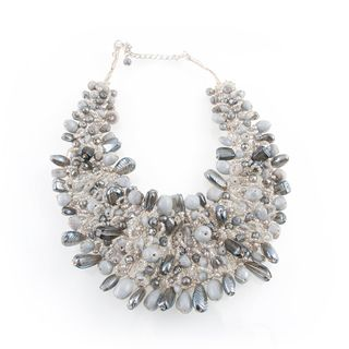Wire woven White and Grey Glass Beads Bib Necklace (India)
