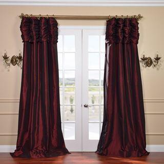 Ruched Header Syrah Solid Color Faux Silk Taffeta 84 inch Curtain