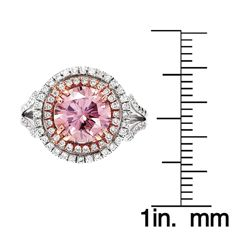 18k White Gold Brilliant cut Pink Diamond Halo Ring