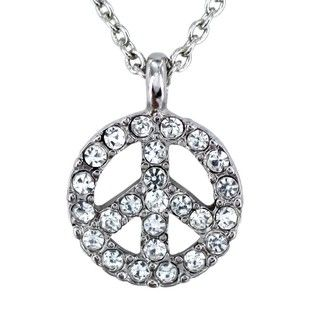 Silvertone Clear Crystal Peace Symbol Charm Necklace