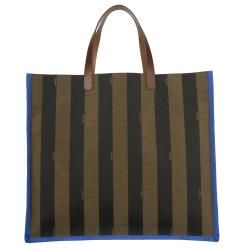 Fendi Striped Canvas Colorblock Tote Bag