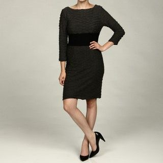 Sandra Darren Womens Black/ Grey Textured Empire Waist Dress