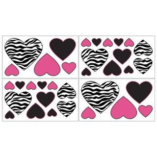 Sweet JoJo Designs Funky Zebra Wall Decal Stickers (Set of 4
