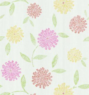 Brewster 141 62116 Zinnia Flower Wallpaper, White