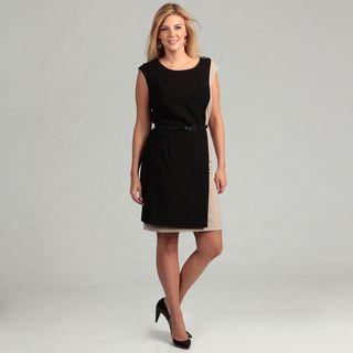 Calvin Klein Womens Black/ Khaki Colorblock Plus Size Dress