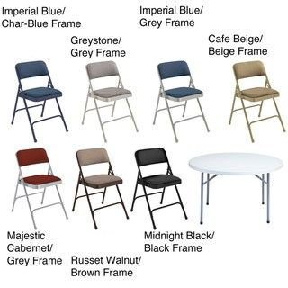 NPS Lightweight Steel 48 inch Round Table and Four Folding Chairs Set