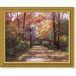 Diane Romanello Autumn Road Framed Canvas Art