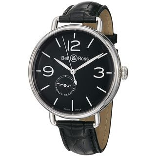 Bell & Ross Mens Vintage Black Dial Leather Strap Automatic Watch