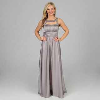 Decode 1.8 Womens Silver Long Bead embellished Keyhole Gown