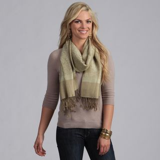 Womens Green and Olive Jacquard Shawl Wrap