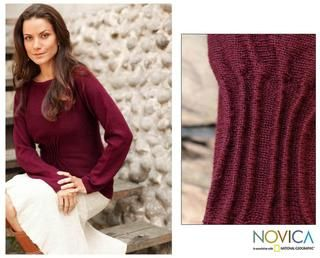 Womens Alpaca Wool Burgundy Flirt Sweater (Peru)