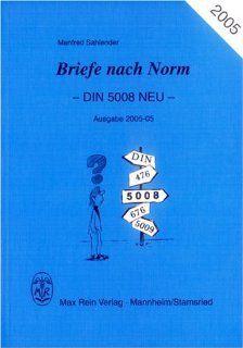 Briefe nach Norm DIN 5008 Neu Manfred Sahlender Bücher