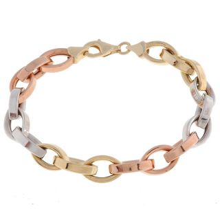 14k Tri color Gold Link Bracelet