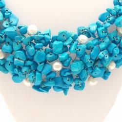 Blue Cascades urquoise Pearl Medley Bib Necklace (Philippines