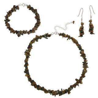 Stonique Creations Sterling Silver Tigers Eye Chip Jewelry Set