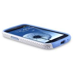 Light Blue/ White Hybrid Case for Samsung Galaxy S III/ S3