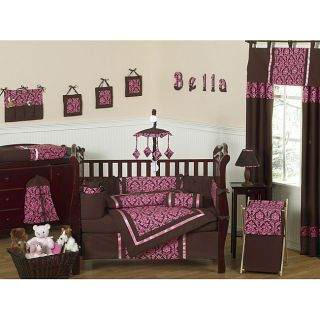Brown and Pink 9 piece Crib Bedding Set