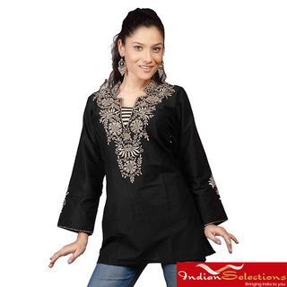 Neckline Embroidery Black Long Sleeves Kurti/ Tunic (India