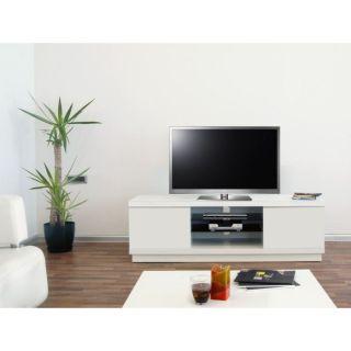 HARMONY Meuble TV laqué Blanc 160cm   Achat / Vente MEUBLE TV   HI FI