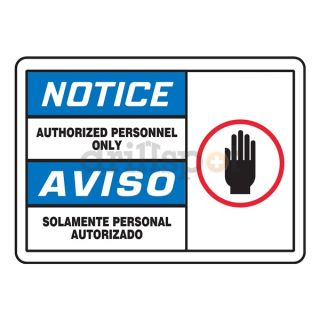 Accuform Signs SBMADM888MVA Notice Sign, 10 x 14In, R, BL and BK/WHT
