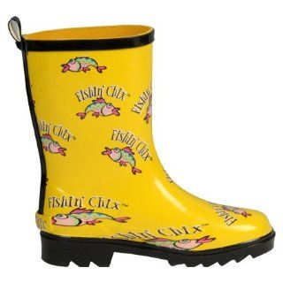 Fishin Chix Girls Fishing Boot Rain Boots,Yellow Logo