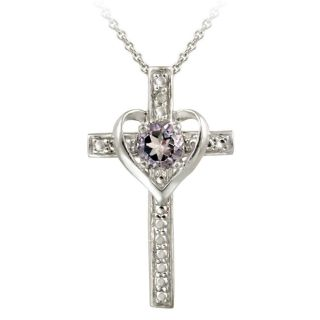 Glitzy Rocks Sterling Silver Amethyst and Diamond Accent Cross