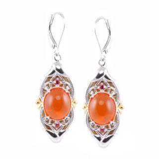 Michael Valitutti Palladium Silver Fire Opal and Orange Sapphire