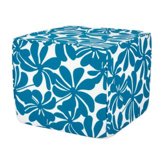 Brooklyn 16 inch Square Turquoise Floral Indoor/Outdoor Ottoman