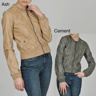 Members Only Womens Faux Leather Crew Neck Bomber Jacket