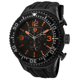 Swiss Legend Mens Neptune Black Dial Black Rubber Chronograph Watch
