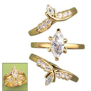 Avon Goldtone Marquise Cubic Zirconia CZ Ring Everything