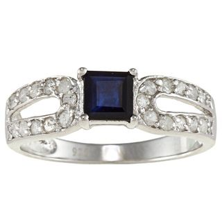 Viducci Sterling Silver Sapphire and 1/2ct TDW Diamond Ring (G H, I1