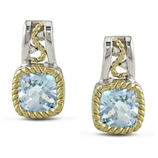 Silver and 10k Gold Blue Topaz and Diamond Accent Earrings