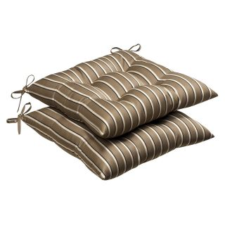 Pillow Perfect Outdoor Brown/ Beige Striped Tufted Seat Cushions with