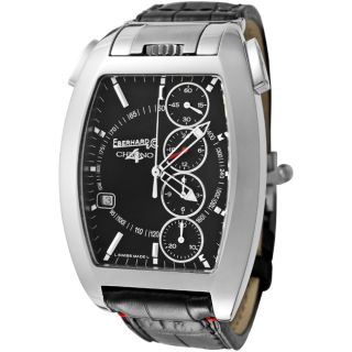 EberHard & Co. Mens Chrono 4/Temerario Black Leather Watch