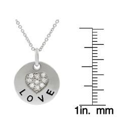 Tressa Sterling Silver Disc CZ Pave Heart Necklace