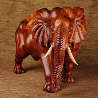 Teak Wood 24 inch Plain Elephant Statue (India)