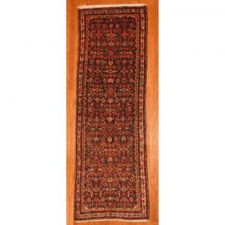 Persian Hand knotted Hamadan Black/Ivory Wool Rug (37 x 10) (Iran
