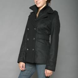 Red Fox Womens Black Double Collar Military inspired Wool blend Coat
