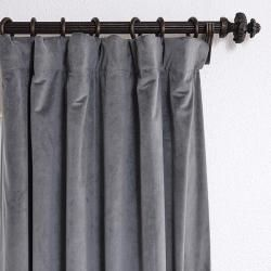 Natural Grey 108 inch Velvet Blackout Curtain Panel