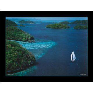Bosio, Georges Sailing Palau Kunstdruck Foto Luftbild der Felsen Insel