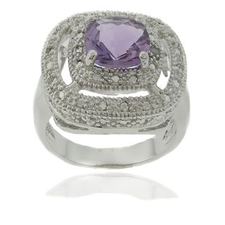 Gem Jolie Silver Overlay Amethyst and Diamond Accent Square Ring
