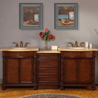 Silkroad Exclusive 84 inch Travertine Double Vanity with LED Lighted