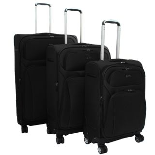 Jourdan Lightweight Black 3 piece Expandable Spinner Luggage Set MSRP
