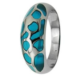 Stainless Steel Turquoise Resin Inlay Cocktail Ring