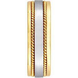 14k Two tone Gold Womens Rope Detail Comfort Fit Wedding Band (6 mm