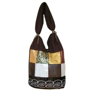 Cotton and Polyester Brown Urban Gypsy Shoulder Bag