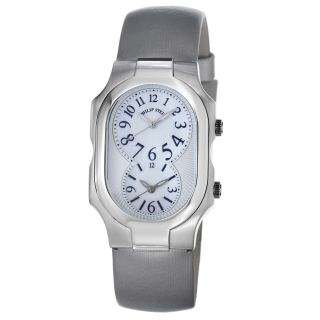 Philip Stein Womens Signature Platinum Silk Strap Dual Time Watch