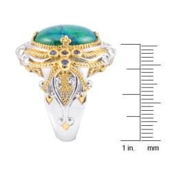 Michael Valitutti Two tone Chrysocolla and Blue Sapphire Ring